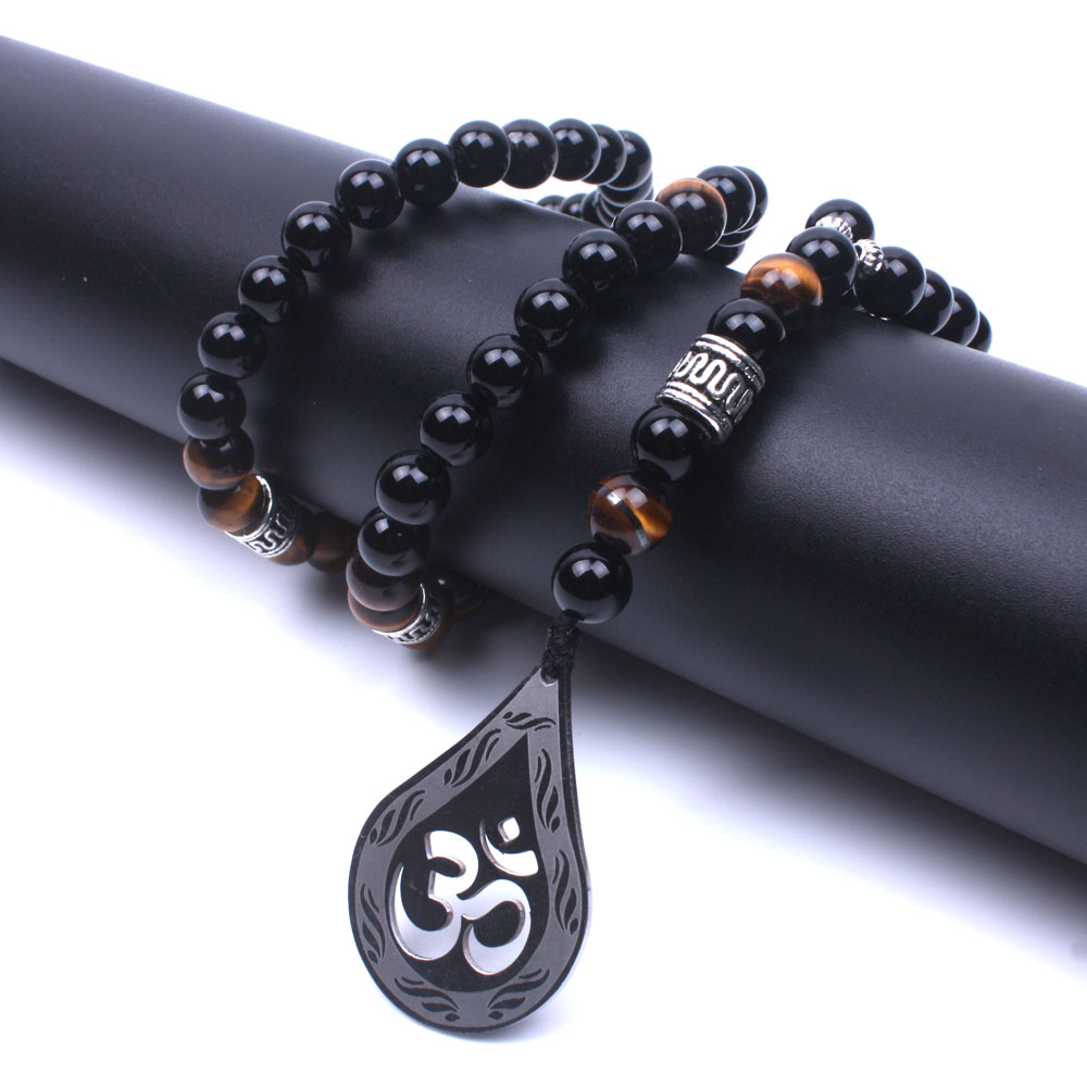 Natural stone onyx Tiger eye stone Beaded Women&Men yoga necklace stainless steel OM long necklace Handmad fashion jewelry pjcmg handmad 100
