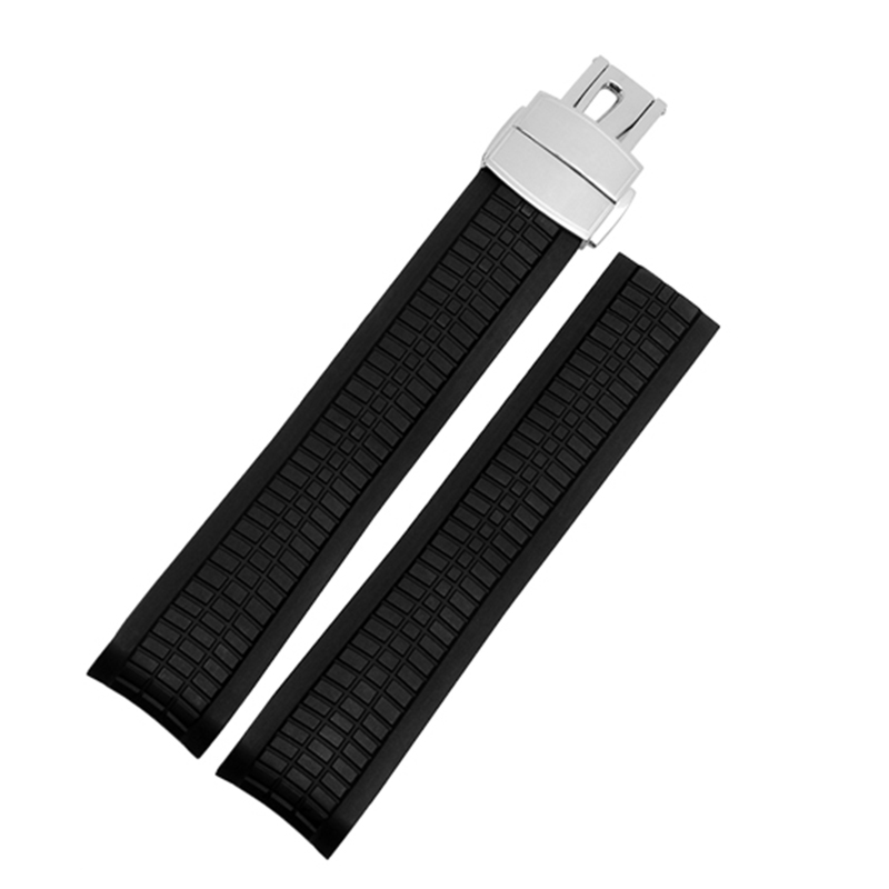 Natural Silicone Strap 21mm Replacement Rubber Watch Band For 5164a5167a-001 With Folding Buckle