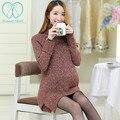 8939 # водолазка плюс размер свободной мягкий теплый свитер материнства осенью и зимой средней длины пуловеры одежда для беременных женщины