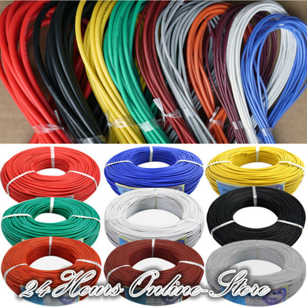 26 AWG Flexible Silicone Wire RC Cable 26AWG 30/0.08TS Outer Diameter 1.5mm With 10 Colors to Select