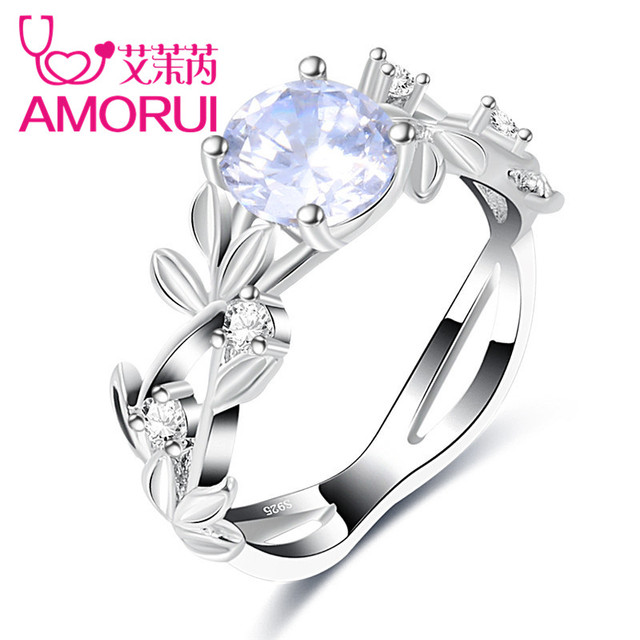 AMORUI Fashion White CZ Stone Queen Ring Silver Leaf Crystal Ring Gift Engagemen