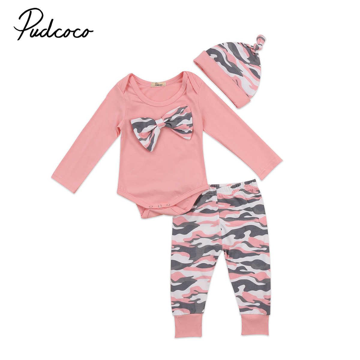 28c30bb9885 3PCS Cotton Newborn Baby Girls Boys Bow Tie Long Sleeve Romper Jumpsuit  Camo Long Pants Hat