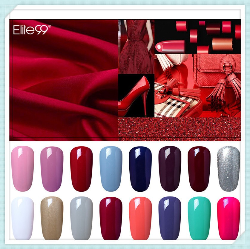 【】Elite99 36pcs Nail Gel Polish Wine Red Color Nail Gel Soak Off ...