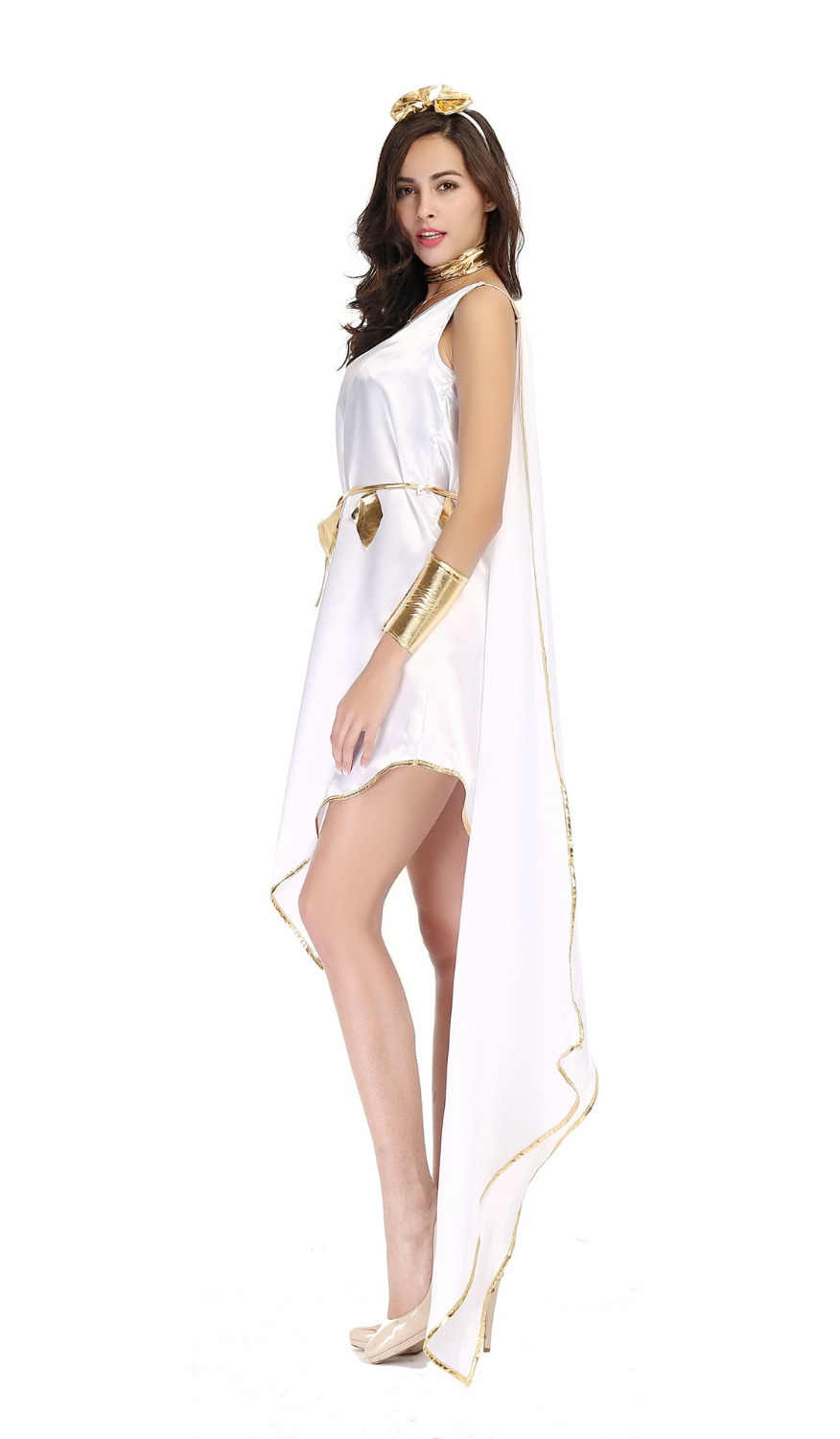 4229ac739ba Adult Woman Halloween Costumes Greek Goddess Cosplay Clothes Set White  Loose Irregular Fancy Dress for Party Carnival