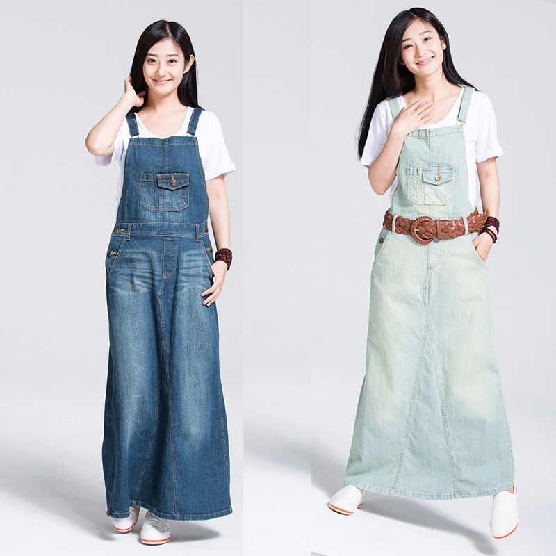 874fe6b420 Free Shipping 2019 Fashion Spaghetti Strap Denim One-piece Dresses Fashion  Suspenders For Women Jeans