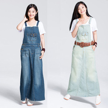 Free Shipping 2017 Fashion Spaghetti Strap Denim One-piece Dresses Fashion Suspenders For Women Jeans Long Maxi Dress Plus Size