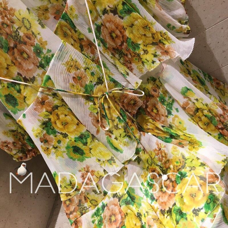Floral Haute Soie Qualité De Irrégulière Imprimé Robe Volants Design Mode À 2018new Jaune Midi gvfwqwd