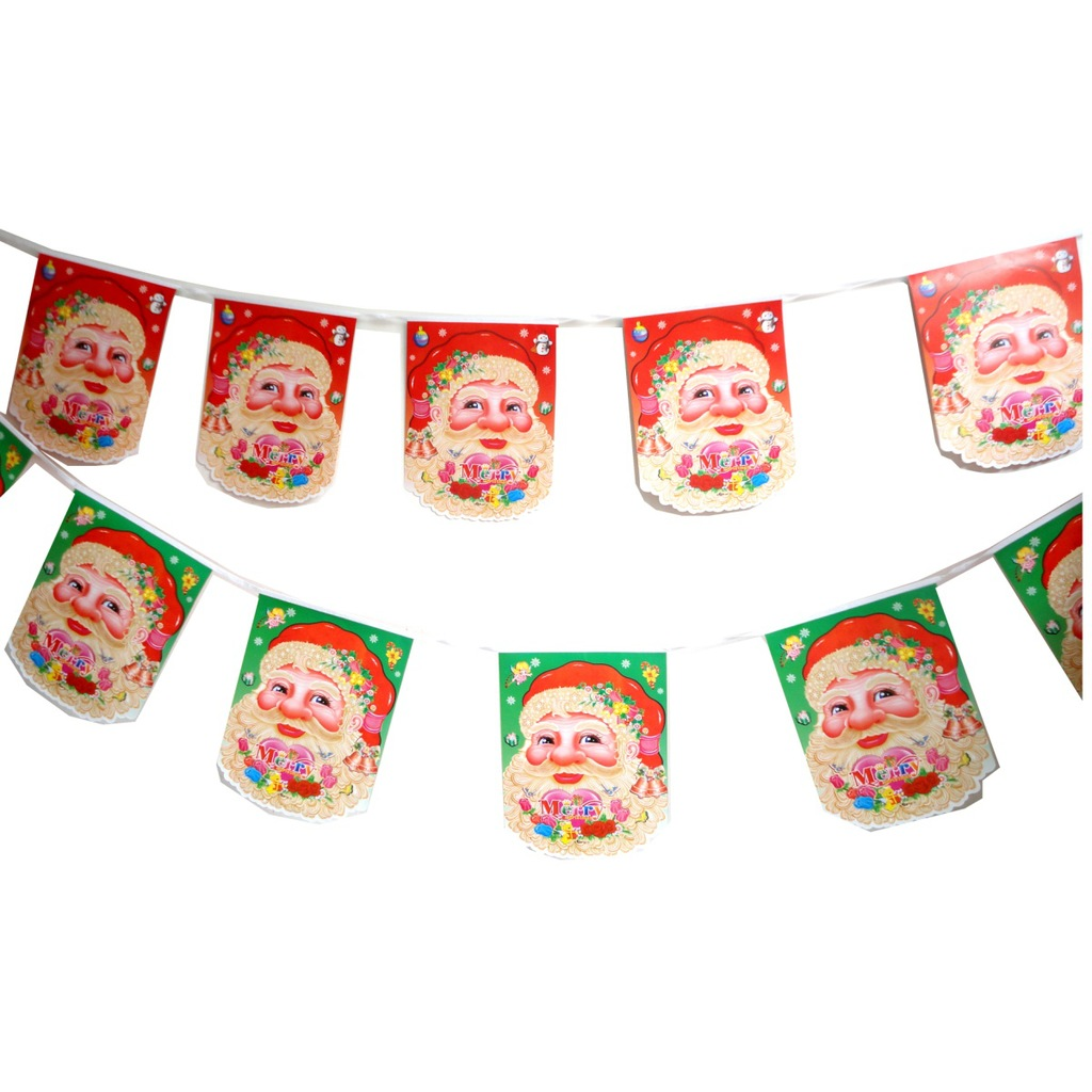 Christmas Decorations Santa Claus Flags Squares Navidad Supplies New Year Decor Home Party Length 1.7m Package Contents 8-10 PCS new year santa claus socks pendants gift bags home christmas tree decorations ornaments baby shower natale