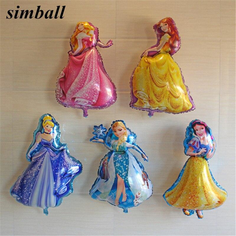 1pc 93*55cm grande cinco figuras de aniversário da princesa balões da folha festa de aniversário do chuveiro do bebê decorações crianças balão de hélio fornecimento