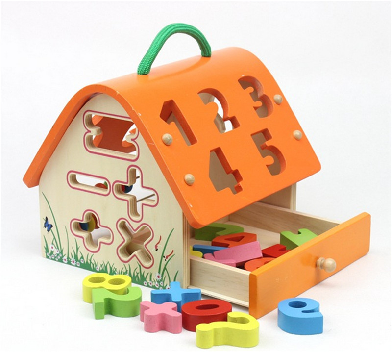 New wooden toy wooden house digital box shape intellectual building blocks of paired dig ...