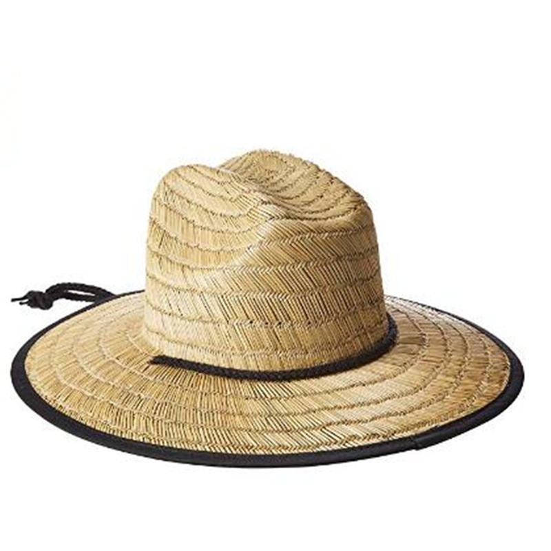 New Natural Large Wide Brim Bamboo Hat Rusty Men's Boony Straw Lifeguard Summer Sun Protecte Hat image
