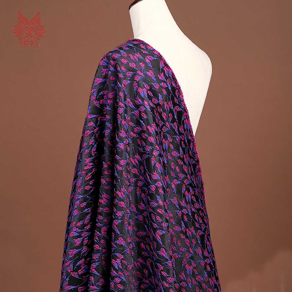 Hitam dengan rose red floral metallic jacquard brocade fabric untuk gaun tissu telas stoffen tecidos kain tekstil jahit SP4625