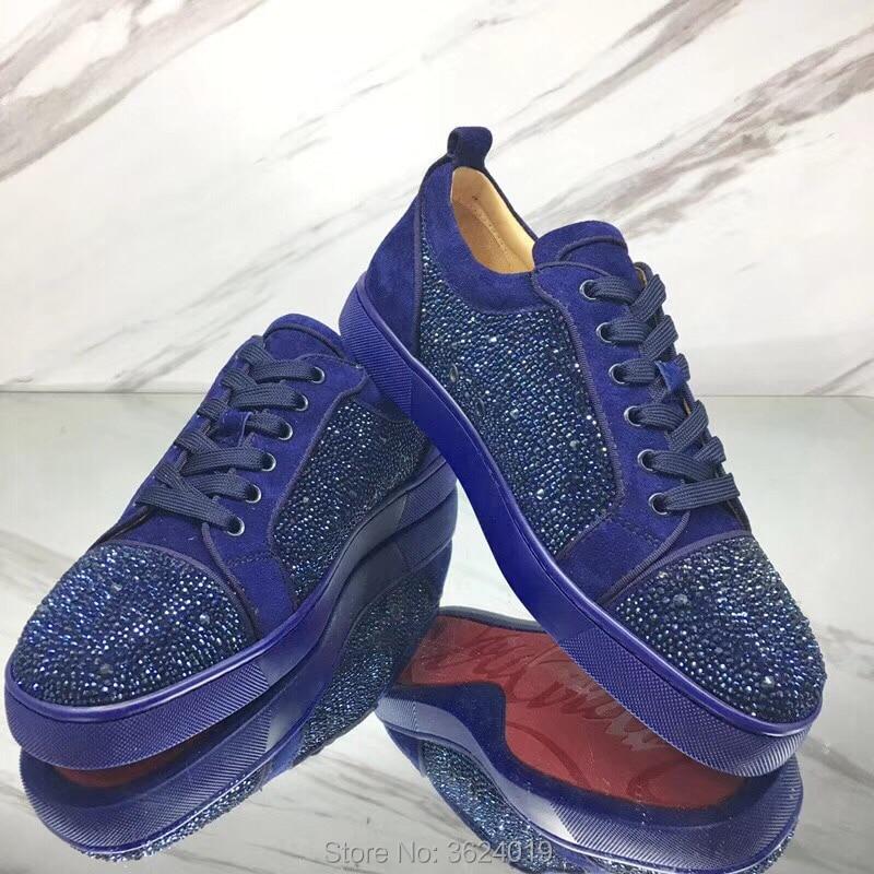 De Diamantes Mocasines Fondo Hombre Corte Zapatos Imitación Azul Vaca Bajo Redondeado Plana Rojo Dedo Cuero Cristales Zapatillas Para tBx460qB
