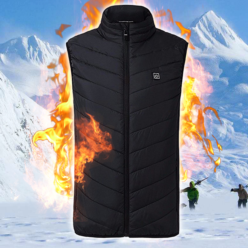 Men Women Electric Heated Vest Winter Women's Clothing Vest Heated USB Thermal Warm Cloth Feather High Neck Vest