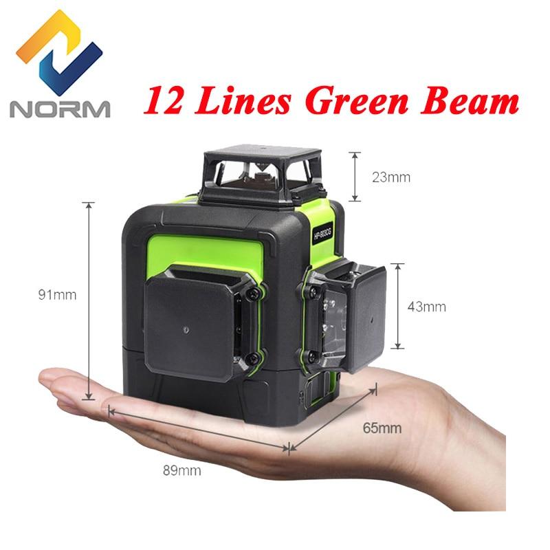 12 ライン 8/5 ライン緑色光レーザーレベルメーターポータブル自己レベリングレーザーレベルグリーンビームレーザーレベルメーター送料無料  グループ上の ツール からの レーザーレベル の中 1
