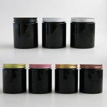 20x250 г дорожная пустая черная баночка для косметического крема 250cc 8,3 oz ПЭТ контейнер инструменты для макияжа алюминиевая крышка с PE Pad