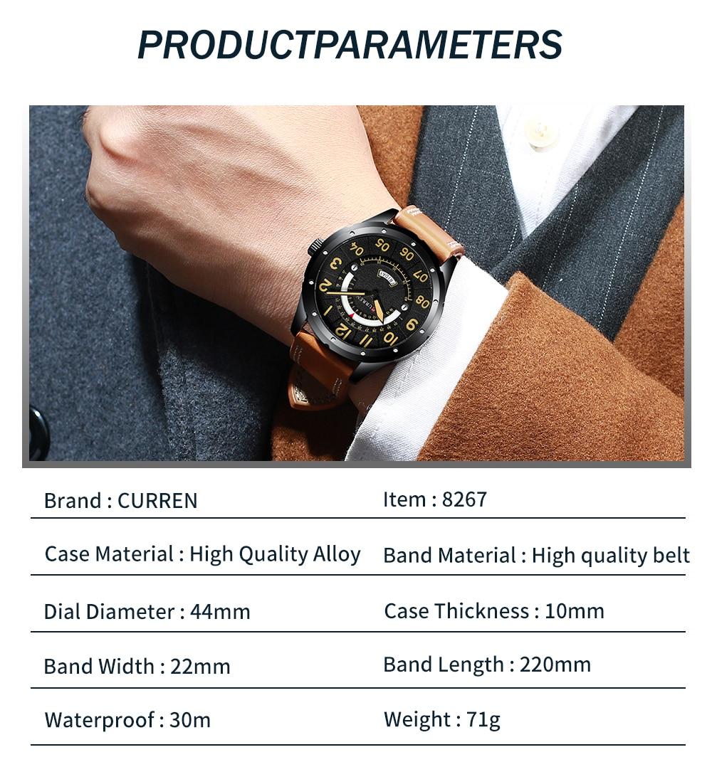 HTB1MGNtauL2gK0jSZFmq6A7iXXaT CURREN Date Mens Watches Luxury Sport Watch