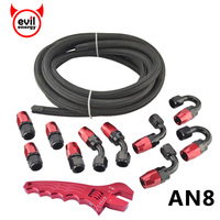 evil energy 5M AN8 Nylon Stainless Steel Racing Oil Fuel Hose+AN8 Aluminum Fittings Hose Ends Oil Cooler Adapter With Spanner