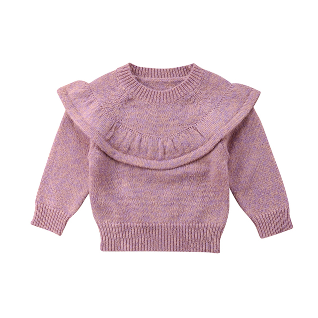 ca2ce260c3cb Cute Baby Girls Knitted Crochet Sweater Winter Warm Clothes Jumper ...