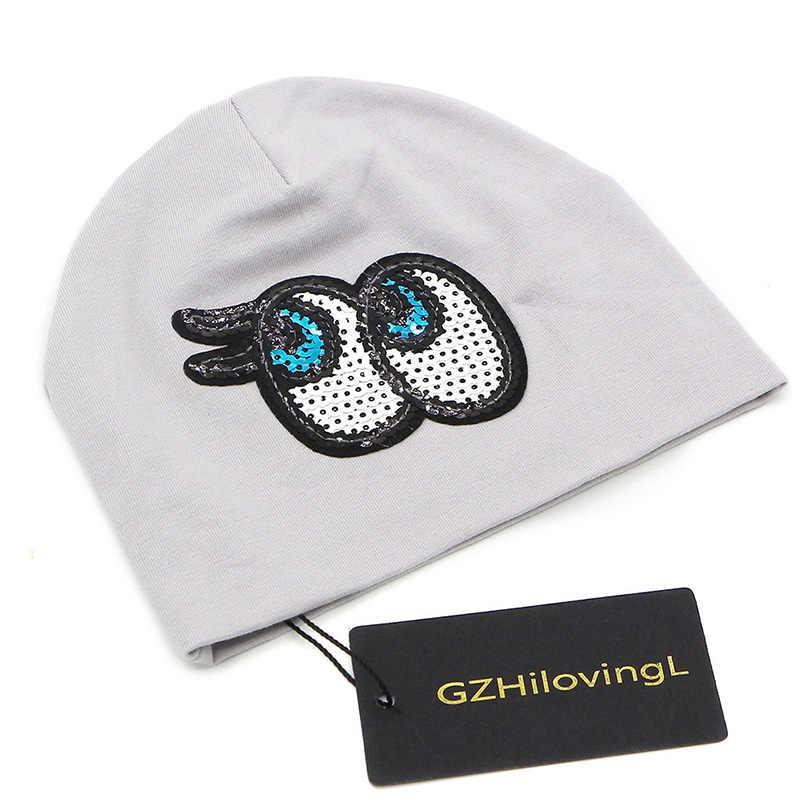 GZHilovingL/2018 Брендовая детская шапка с мультяшным глазом, двойные хлопковые трикотажные лыжные шапочки для маленьких мальчиков и девочек, весна-осень-зима, Skullies