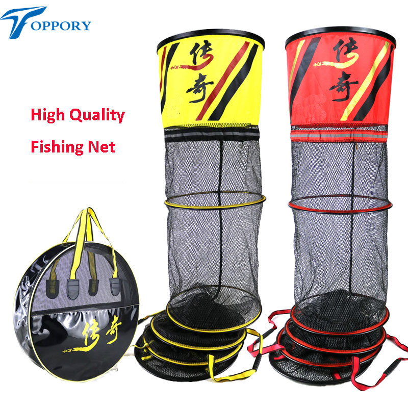 Toppory High Quality Long Fishing Net Diameter 40CM 45CM Stainless Alumium Ring Fishing Network Small Mesh For Fish Kepping quality gill net h5 l95m 3layer 3 5 and 19cm mesh sink net fish trap sticky fishing net outdoor pesca reservoir fishing network