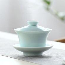 Однотонная фарфоровая чайная чаша gaiwan fater day gift китайская