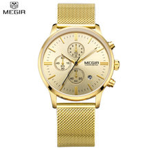 MEGIR Official Simple Stylish Watch Top Luxury brand Watches men Stainless Steel Mesh strap Chronograph Military Quartz Watch