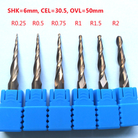 2pcs Lot R0 25 R0 5 R1 R1 5 R2x30 5xD6x50 Shank 6mm Solid Carbide Tapered