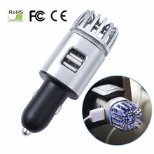 Car Air Purifiers 2 in 1 Negative Lons with Dual USB Charger Ionizer Air Freshener Ionic Odor Eliminator Smoke Bacteria Purifier цена