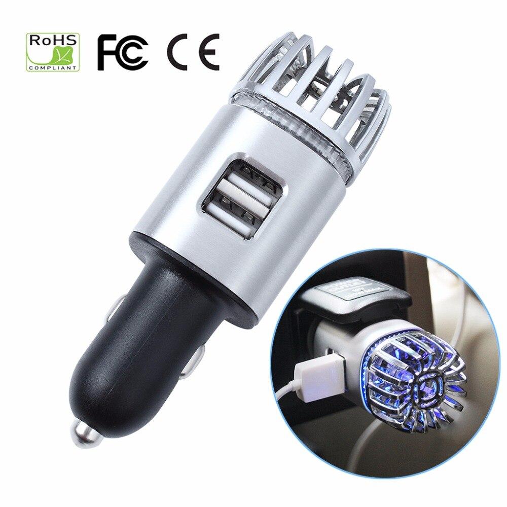 Depuratori D'aria auto 2 in 1 Lons Negativi con il Caricatore USB Doppio Ionizzatore Bevanda Rinfrescante di Aria Ionico Odore Eliminator Fumo Batteri purificatore