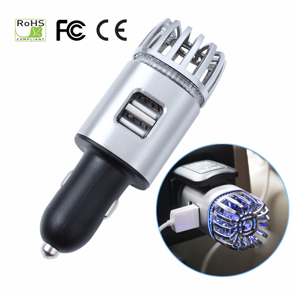 Purificadores de aire del coche 2 en 1 Lons negativos con cargador USB Dual ambientador de aire purificador de olores iónicos purificador de bacterias de humo