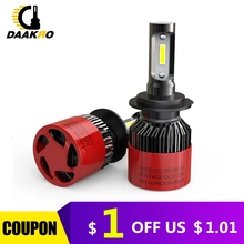 2Pcs S2 LED Bulb Car Headlight H7 LED H1 H4 H8 H9 H11 72W 4000LM 8000LM 6000K Fog Light 12V 24V Auto Headlamp Lamps Pure White
