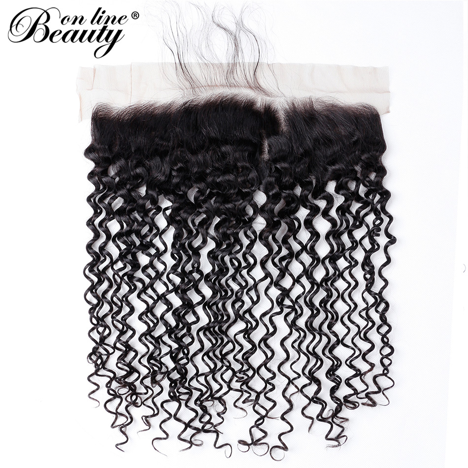 Beauty On Line Curly 3 Bundles With Frontal Pre-plucked Brazilian Hair Weave Bundles With 13*4 Lace Frontal Closure