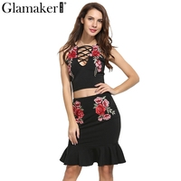 Glamaker Sexy Floral Embroidered Patch Summer Dress Women Two Piece Suit Club Casual Dress Sexy V