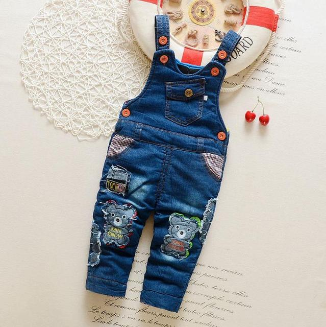 2016 new arrival autumn winter infant kids thick jeans bib pant baby boys girls cartoon bear denim suspenders overalls