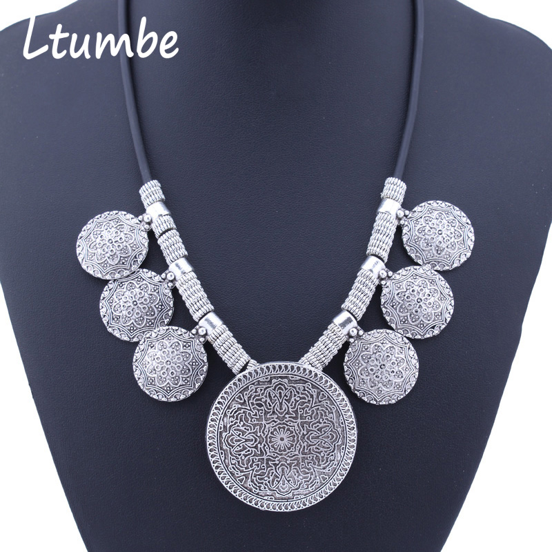 Ltumbe Bohemia Ethnic Vintage Jewelry Silver Color Big Coin Necklaces & Pendants Tibetan Statement Maxi Necklaces for Women Gift