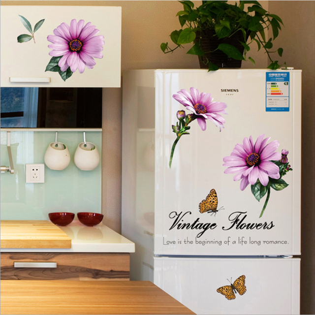 New Arrival Beautiful Daisy Flowers Wall Sticker 3d Floral Fridge Stickers  Diy Mural Vintage Home Decor