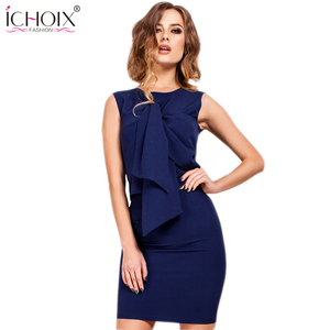 ICHOIX 2019 New Summer Women's Dresses Office Lady Solid Sleeveless Dress Tops and Skirt Bodycon 2 Pieces/Set Business Vestidos
