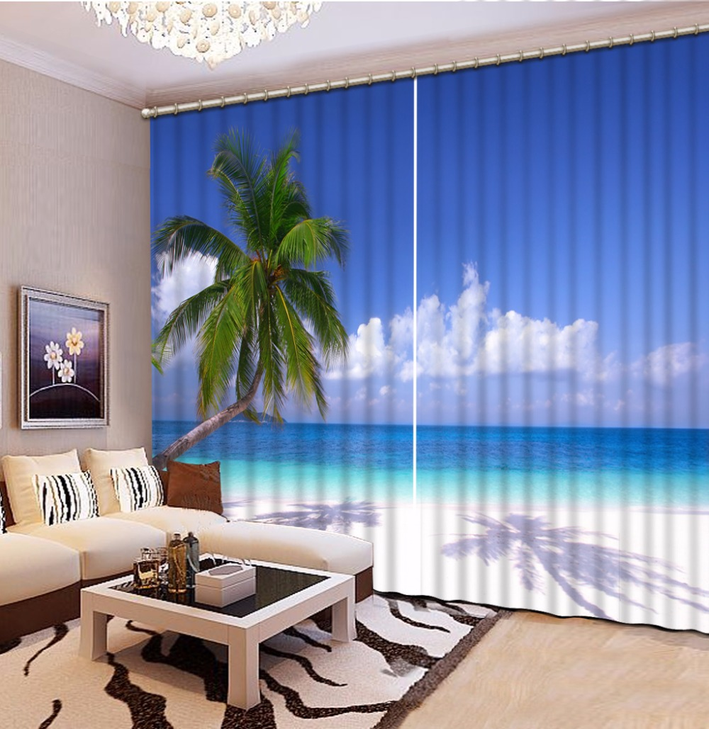 New Custom 3D Beautiful Printed Curtain Coconut Leaf Sea Blackout Shade Window Curtains Window Curtain Living Room