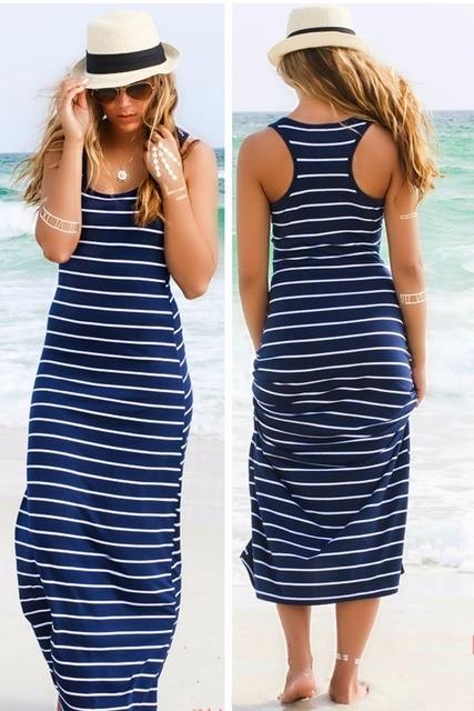 Sexy Lady Womens Hobo Stripe Summer Beach Dress Long Maxi Vest Sundress 3 Colors 1