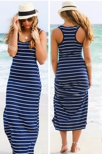 Sexy Lady Womens Hobo Stripe Summer Beach Dress Long Maxi Vest Sundress 3 Colors