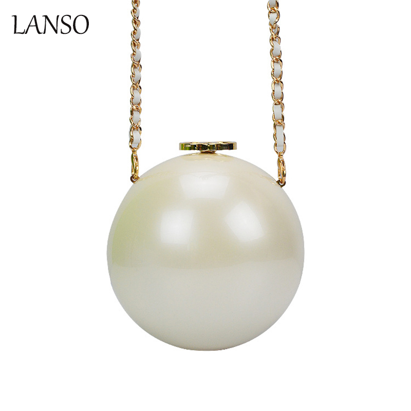 Lanso New Arrival Big Pearl Bag Acrylic Evening font b Party b font Bags Mini Shoulder