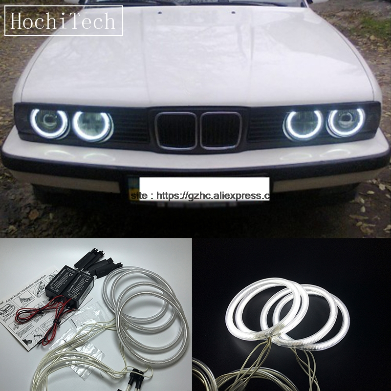 HochiTech For BMW E30 E32 E34 1984-1990 Ultra Bright Day Light DRL CCFL Angel Eyes Demon Eyes Kit Warm White Halo Ring 120mm*4 цена
