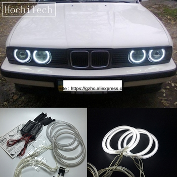 HochiTech For BMW E30 E32 E34 1984-1990 Ultra Bright Day Light DRL CCFL Angel Eyes Demon Eyes Kit Warm White Halo Ring 120mm*4 image