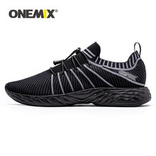 ONEMIX Running Shoes For men Black Breathable Slip On Sneakers Woman Platform Ladies Loafers Knitting Casual Walking Shoes new summer genuine leather slip on shoes men casual breathable mesh shoes men loafers mens sneakers casual loafers men footwear