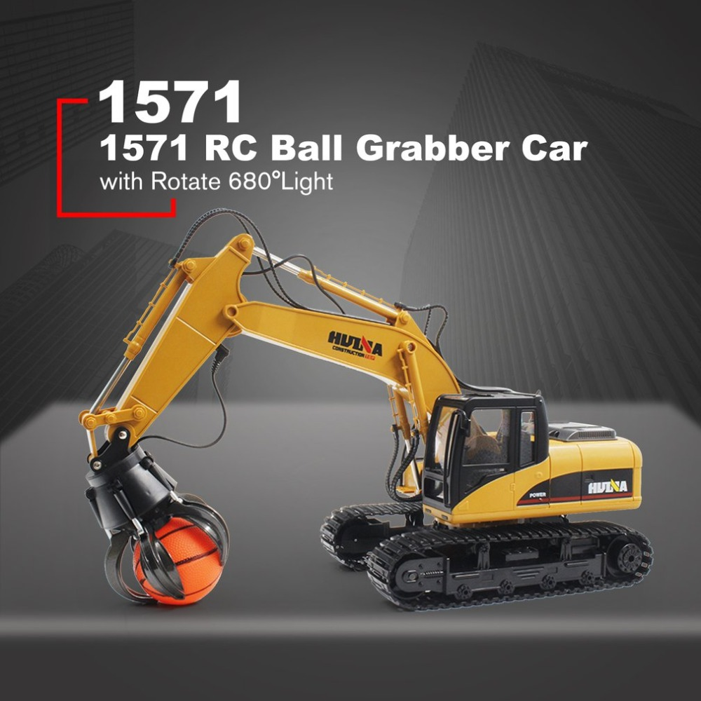 HUINA TOYS 1571 1/14 16CH alliage RC balle Grabber camion ingénierie Construction voiture véhicule avec son lumière tourner 680 RTR