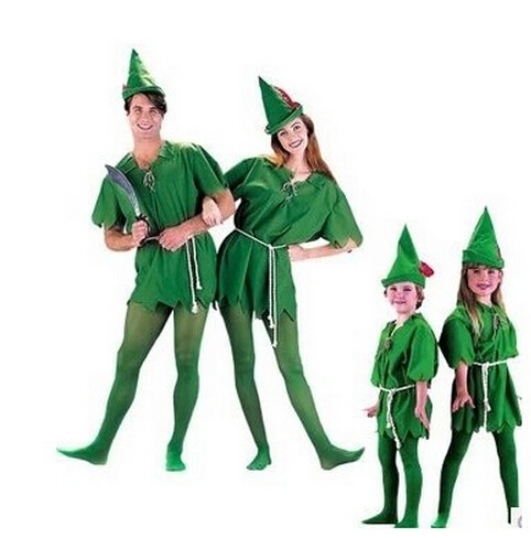 Free shipping Halloween costume party dress Green elves Peter pan Role-playing apparel halloween costumes for men women