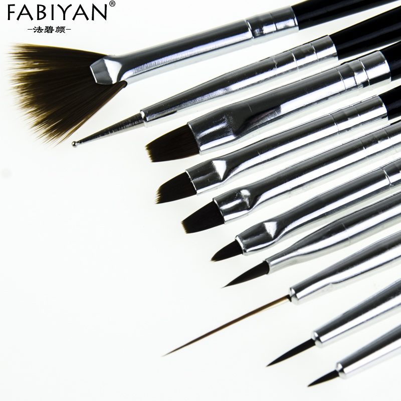 FABIYAN 10Pcs Nail Art Brush Liner Dotting Fan Design Acrylic Builder Flat Crystal