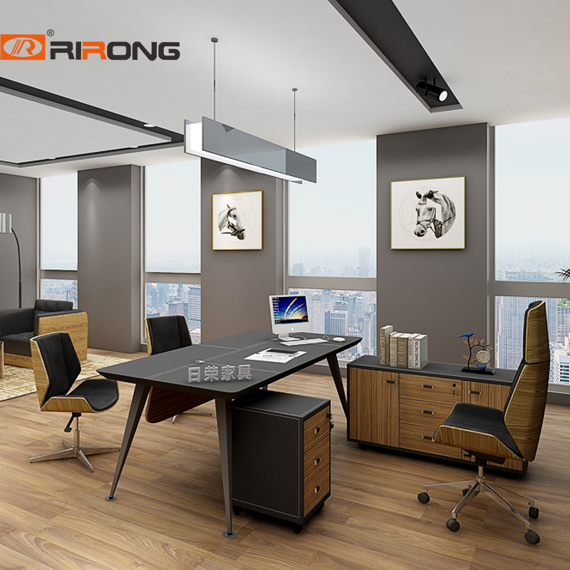 Black Simple Modern Small Size With Cabinet  Wood Veneer Office Manager Ceo Desk Table