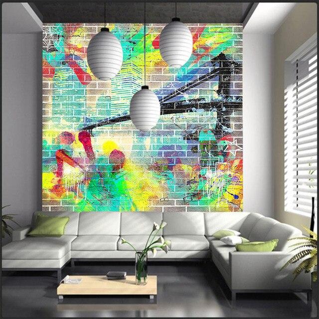 graffiti yoga wall dance fitness bar brick bedroom mural street living custom backdrop background painting shipping mouse zoom